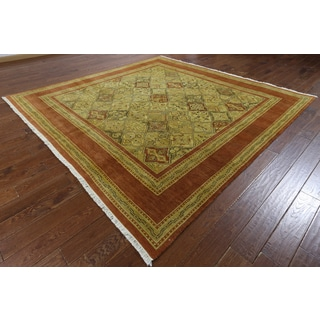 Hand-knotted Peshawar Multicolor Brown Wool Rug (8'10 x 9'1)