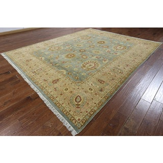 Hand-knotted Peshawar Blue and Beige Wool Rug ( 8'10 x 10'10)