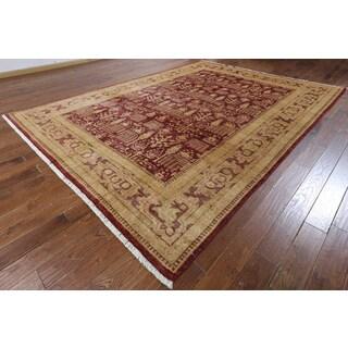 Hand-knotted Ziegler Oriental Burgundy Wool Rug (8'10 x 11'9)