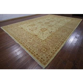 Hand-knotted Chobi Peshawar Natural Brown Wool Rug (12'2 x 18'6)