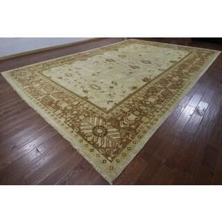Hand-knotted Chobi Peshawar Ivory and Brown Wool Rug (12'1 x 17'10)