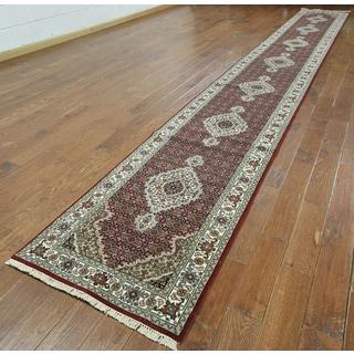 Hand-knotted Tabriz Burgundy Wool and Silk Runner (2'7 x 27'8)