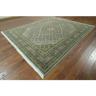 Hand-knotted Tabriz Green Wool and Silk Rug (8'1 x 10')
