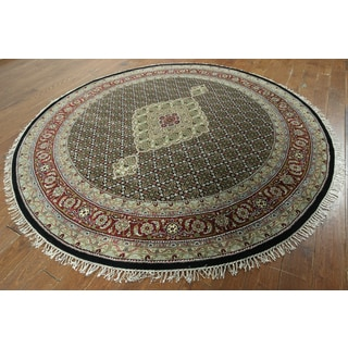 Hand-knotted Oriental Tabriz Black and Red Wool Rug (8'2 x 8'2)