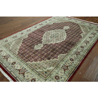 Hand-knotted Tabriz Red and White Wool Rug (5'6 x 8'3)