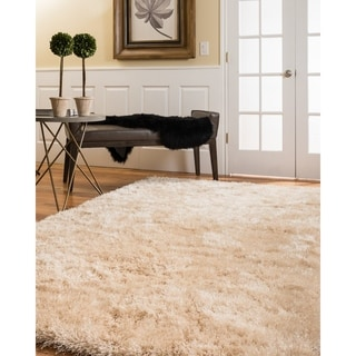 Natural Area Rugs Handtufted Orlando Gold Shag Rug  (5' x 8') with Bonus Rug Pad