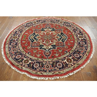 Hand-knotted Serapi Red and Navy Blue Wool Rug ( 6' x 6')