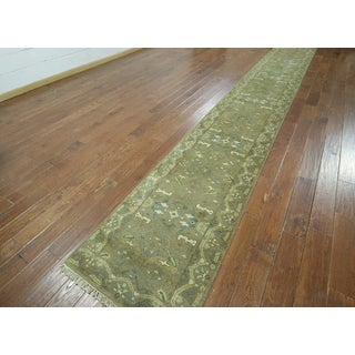 Hand-knotted Oushak Green and Brown Wool Runner (2'6 x 19'9)