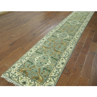 Hand-knotted Oushak Green and Ivory Wool Runner (2'6 x 13'9)