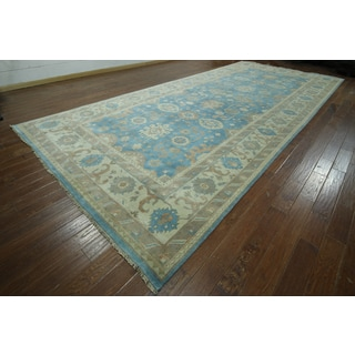 Hand-knotted Oushak Blue and Ivory Wool Rug (8'11 x 20'3)