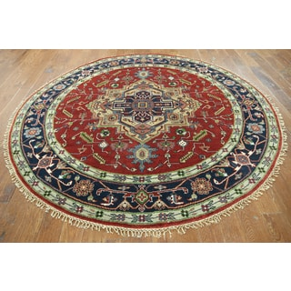 Hand-knotted Oriental Serapi Red Wool Rug (8'1 x 8'1)