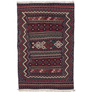 Ecarpetgallery Handmade Persian Blue and Red Wool Kilim (4'6 x 7')