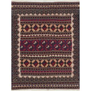 Ecarpetgallery Handmade Persian Blue and Brown Wool Kilim (4'11 x 6'8)