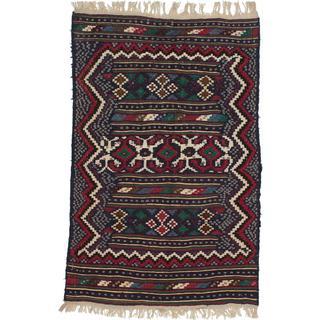 Ecarpetgallery Handmade Persian Qashqai Blue and Red Wool Kilim (4'7 x 7')