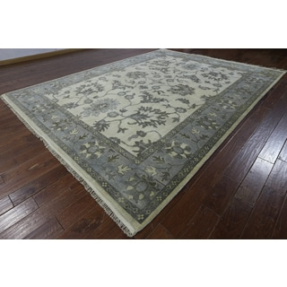 Hand-knotted Turkish Oushak White Wool Rug ( 9'2 x 12'1)