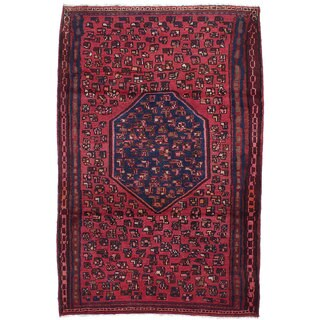 Ecarpetgallery Hand-knotted Persian Hamadan Red Wool Rug (4'5 x 6'9)