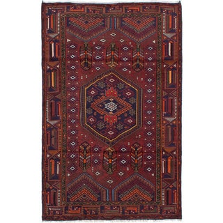 Ecarpetgallery Hand-knotted Persian Darjazin Red Wool Rug (4' x 6'3)