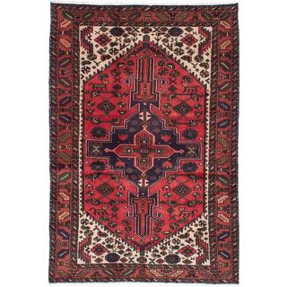 Ecarpetgallery Hand-knotted Persian Hamadan Red Wool Rug (4'1 x 6'3)