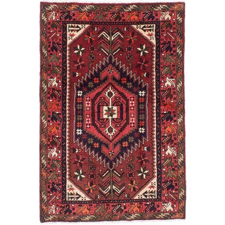 Ecarpetgallery Hand-knotted Persian Darjazin Orange Wool Rug (4' x 6'1)