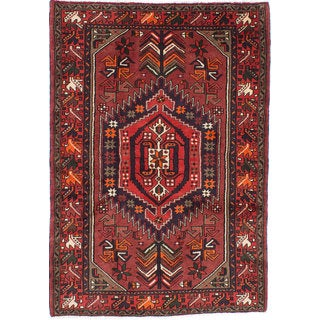 Ecarpetgallery Hand-knotted Persian Hamadan Orange Wool Rug (4'2 x 6')