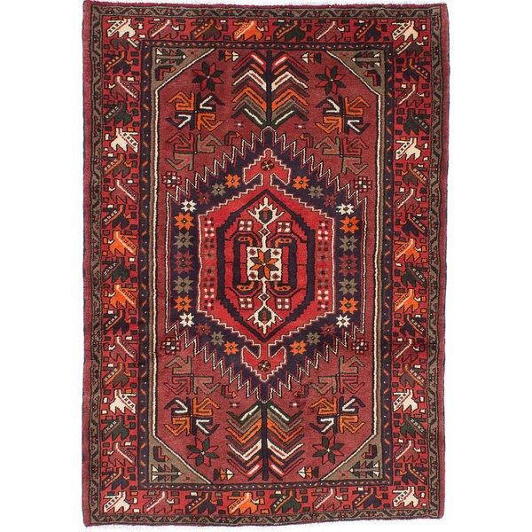 5 X 6 Vintage Kazak Persian Oriental Wool Hand Knotted: Ecarpetgallery Hand-knotted Persian Hamadan Orange Wool
