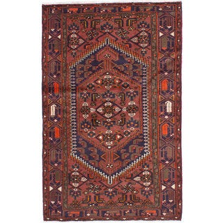 Ecarpetgallery Hand-knotted Persian Hamadan Orange Wool Rug (4' x 6'6)