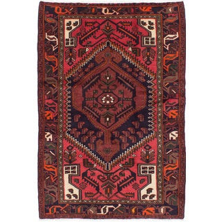 Ecarpetgallery Hand-knotted Persian Hamadan Blue and Red Wool Rug (4'1 x 6'1)