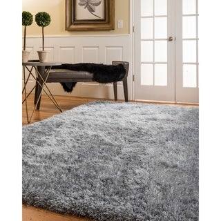 Natural Area Rugs Handtufted Orlando Gray Shag Rug  (6' x 9') with Bonus Rug Pad