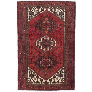 Ecarpetgallery Hand-knotted Persian Hamadan Red Wool Rug (4' x 6'3)