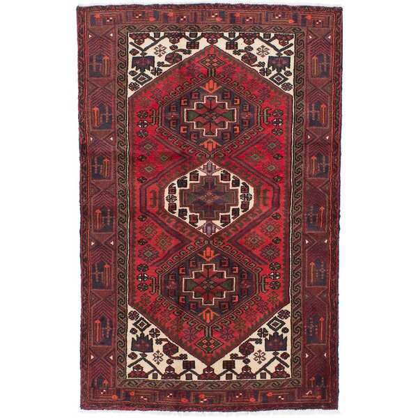Shop Ecarpetgallery Hand Knotted Persian Kashan Red Wool: Shop Ecarpetgallery Hand-knotted Persian Hamadan Red Wool