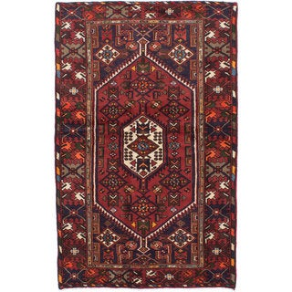 Ecarpetgallery Hand-knotted Persian Hamadan Red Wool Rug (4'2 x 6'6)