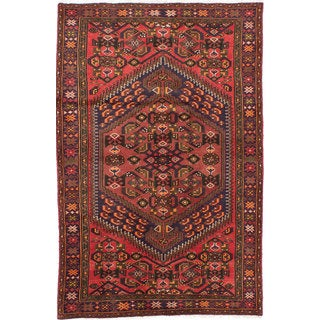 Ecarpetgallery Hand-knotted Persian Hamadan Red Wool Rug (4' x 6'5)
