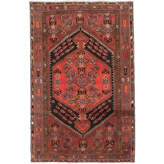 Ecarpetgallery Hand-knotted Persian Hamadan Red Wool Rug (4'2 x 6'3)