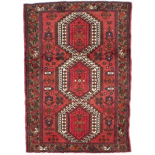 Ecarpetgallery Hand-knotted Persian Hamadan Red Wool Rug (4'4 x 6'2)
