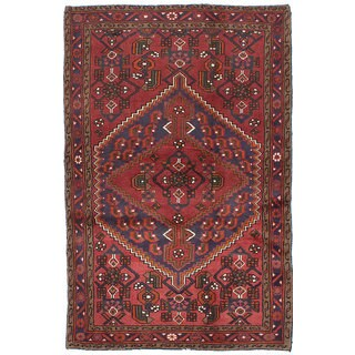 Ecarpetgallery Hand-knotted Persian Hamadan Red Wool Rug (4'1 x 6'4)