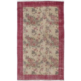 Ecarpetgallery Hand-knotted Melis Vintage Beige and Red Wool Rug (4' x 6'8)