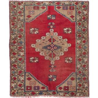 Ecarpetgallery Hand-knotted Anatolian Vintage Red Wool Rug (5' x 6')