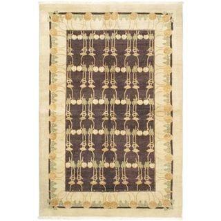 Ecarpetgallery Hand-knotted Finest Ziegler Chobi Black Wool Rug (6'2 x 8'10)