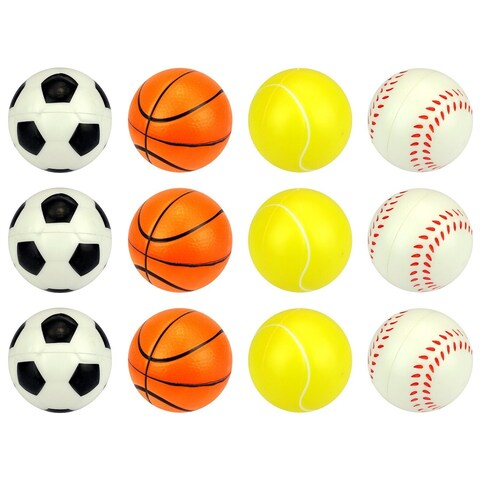 Velocity Toys 2.5-inch Assorted Sports Squeeze Foam Toy Balls (Set of 12)
