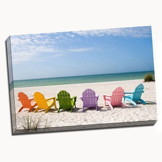 Beach Chairs Canvas Printed on Canvas Stretched Framed Ready to Hang