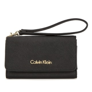 Calvin Klein Saffiano Leather Black Cellphone Case