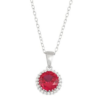 Gioelli Sterling Silver Created Ruby with Created White Sapphire Halo Pendant