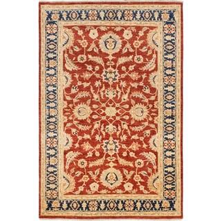 Ecarpetgallery Hand-knotted Chobi Finest Orange Wool Rug (6' x 8'11)