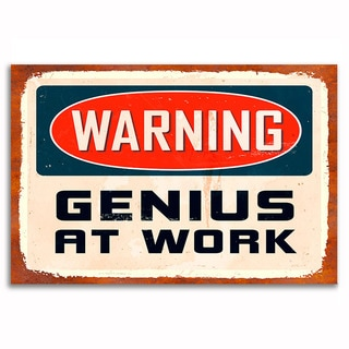Genius At Work Vintage 12x 18 Retro Image Printed on Metal