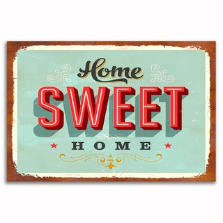 Home Sweet Home Vintage 12x 18 Retro Image Printed on Metal