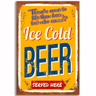 Cold Beer Vintage 12x 18 Retro Image Printed on Metal