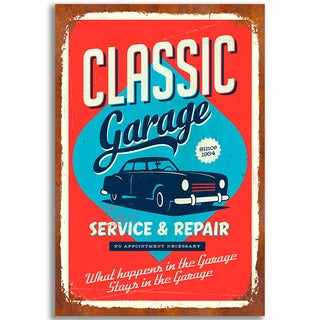Classic Garage Vintage 12x 18 Retro Image Printed on Metal