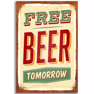 Free Beer Vintage 12x 18 Retro Image Printed on Metal