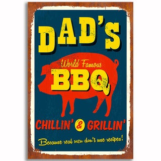 Dad's BBQ Vintage 12x 18 Retro Image Printed on Metal