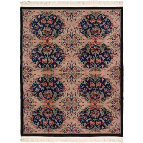 Ecarpetgallery Hand-knotted Savonnerie Beige and Blue Wool Rug (8' x 10'2)